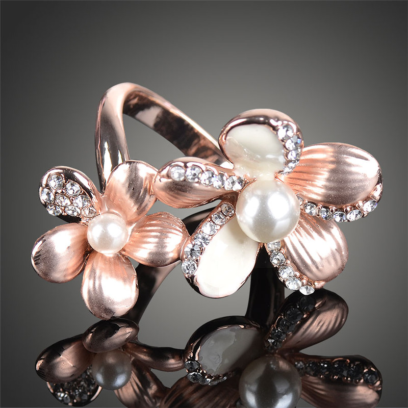 New Black Friday and Christmas Gift Sale Rose Gold color Double Flower Petals Anel Rings for Women J01470