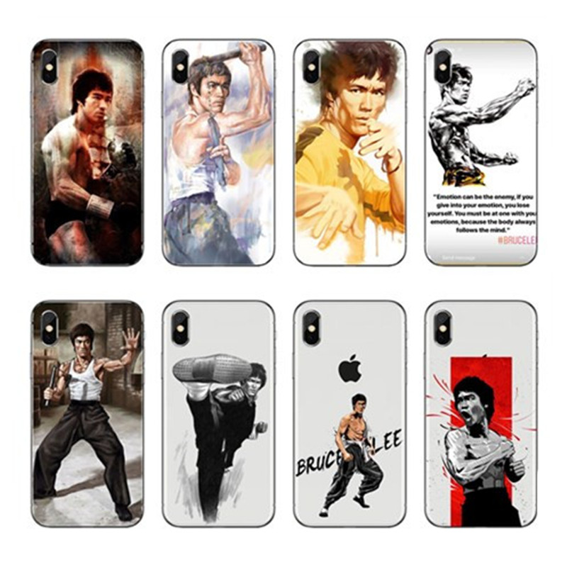 Para O Iphone 4 5 6 7 8 Plus Mais Acessorios Phone Soft Transparent Silicone TPU Cases Covers Bruce Lee Chinese Kung Fu