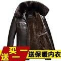Осень зима моды для мужчин меховой воротник бархат теплый кожаное пальто куртка мужчин случайные красивый кожаный пальто куртки