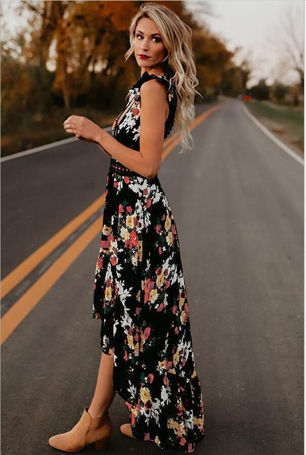 women bohemian sleeveless print dress summer holiday long maxi dress sleeveless v neck causal leisure dress in Dresses from Women 39 s Clothing