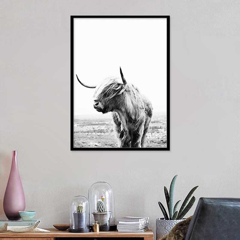 Nordic Oxen Wall Art Posters and Prints Black White Highland Cow Canvas Painting Picture For Living Room Yak Home Decor No Frame