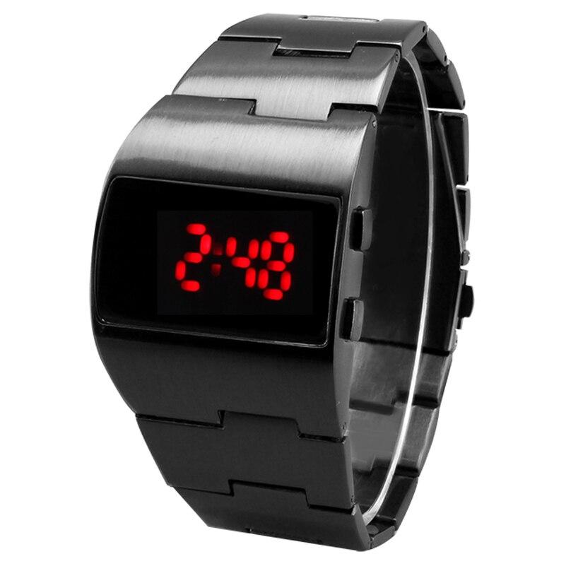 354ce8ba2e8 TADA Marca dos homens de Prata preto Relógio LED VERMELHO AZUL LED Relógio  Militar relogio masculino Relógio De Prata do Metal Samurai de ferro  Levaram ...