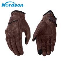 Nordson Retrò Guanti Da Moto Uomo In Pelle Impermeabile di Inverno Dello Schermo di Tocco di Motocross Guanti Guanti Pieni Della Barretta Moto Moto guanti
