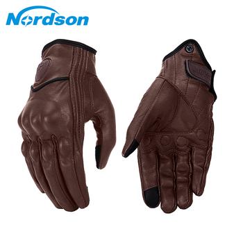 Nordson Retro rękawice motocyklowe męskie skórzane wodoodporne zimowe rękawice motocrossowe z ekranem dotykowym pełne palce motocyklowe rękawice Moto tanie i dobre opinie Skóra Mężczyźni Z pełnym palcem Brown Spring Summer Autumn Winter Touch Screen Hard Knuckle Skid-resistant Adjustable Easily removable Velcro fold-overs