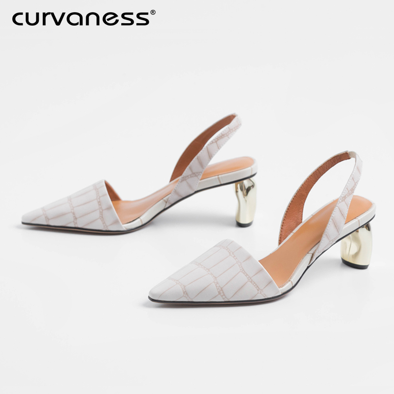 Curvaness Summer Women's Shoes Sandals Thick Bottom With High Heels 5cm 2019 New Leather Pointed Fashion Office Shoes