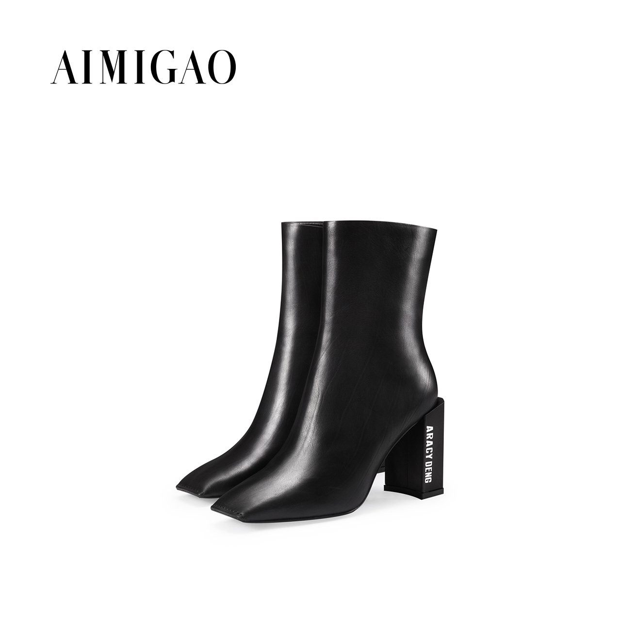 AIMIGAO cowhide leather high heels ankle boots for women square toe side zipper Fashion ankle boots 2017 autumn winter new 2018 new arrival genuine leather zipper runway autumn winter boots round toe high heels keep warm elegant women ankle boots l29