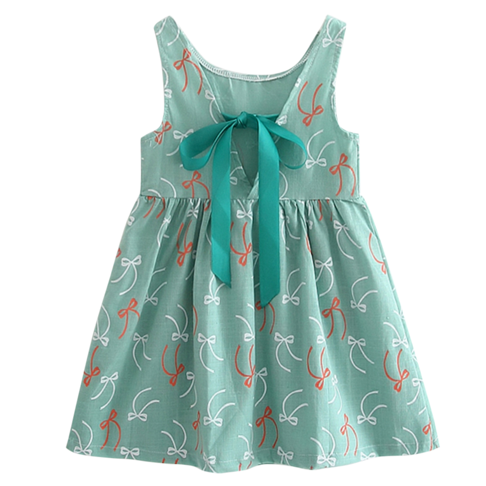 Green Floral Baby Girls Tutu Dress Sleeveless Bowknot