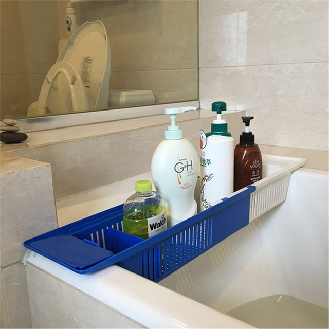 Multifunction Bath Holders Children Toys Bathroom Storage Basket Stretch Bath  Caddy Plastic Scalable Rack Holder Bathtub