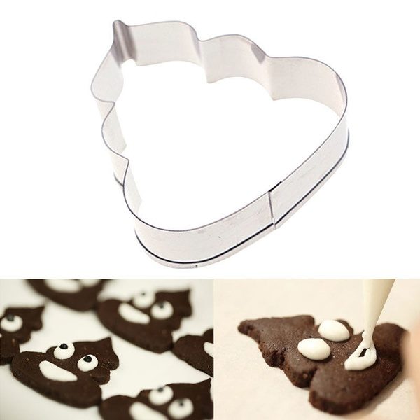 2pcs Poo Cookie Cutter Stainless Steel Poop Shaped Family DIY Cake Maker Mould For Birthday Party