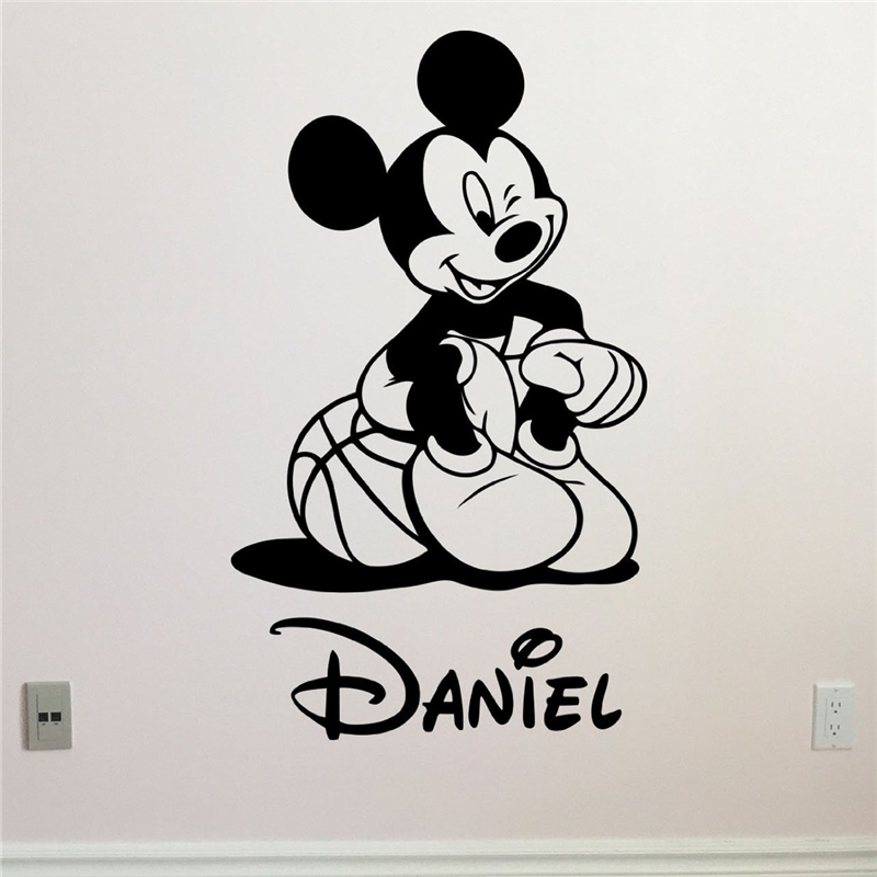 Mickey Mouse Wall Decal Boy Sport Basketball Ball Custom Name Cartoons Vinyl Sticker Baby Girl Boy Kids Room Wall Sticker X339