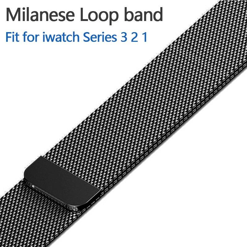 Magnética hebilla ajustable Milanese banda para Apple reloj 42mm 38mm enlace pulsera con adaptador para iwatch serie 3/2