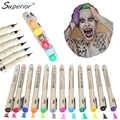 מעולה 12 צבעים מברשת סט ציור עט מברשת רכה לאמן מנגה סקיצה סמני עיצוב עט אקוורל מרקר צבעי אספקת אמנות