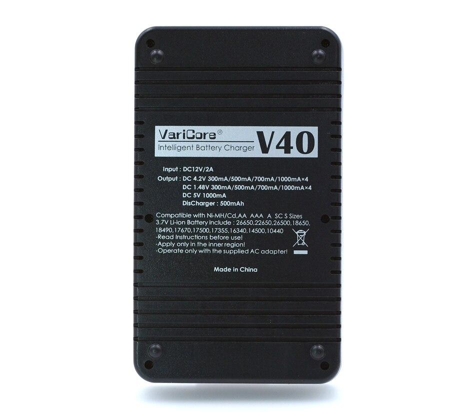 Varicore v40 зарядное устройство 3,7 в 18650 26650 18500 16340 14500 18350 литиевая батарея 1,2 V зарядное устройство для никель-кадмиевых или никель-металл-aaa никель-металл-гидридного рэха