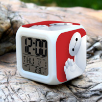 2016 NEW Big Hero 6 LED 7 Colors Change Digital Alarm Clock Thermometer Night Colorful Glowing