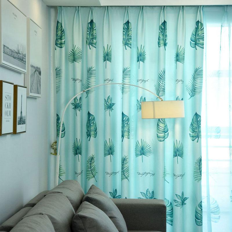 Tropical Leaves Banana Leaf Curtains Print Blue Modern