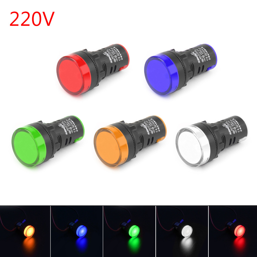 Areyourshop New Arrival Switches LED Indicator Pilot Light Signal Lamp Panel 220V 22mm IP65 AD16-22 1/4PCS LED Connector