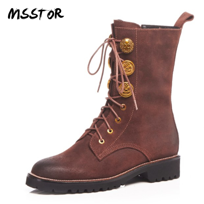 MSSTOR Rivet Ladies Boots For Winter Plush Square Heels Shoe Laces Casual Fashion Ankle Boots For Women Round Toe Flats ShoesMSSTOR Rivet Ladies Boots For Winter Plush Square Heels Shoe Laces Casual Fashion Ankle Boots For Women Round Toe Flats Shoes