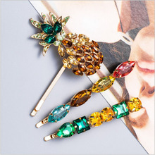 LEADERBEADS 2019 ZA Summer Beach Multicolor Crystal Luxury Pineapple Hairpins Set Womens Trendy Rhinestone Haircilp Barrette