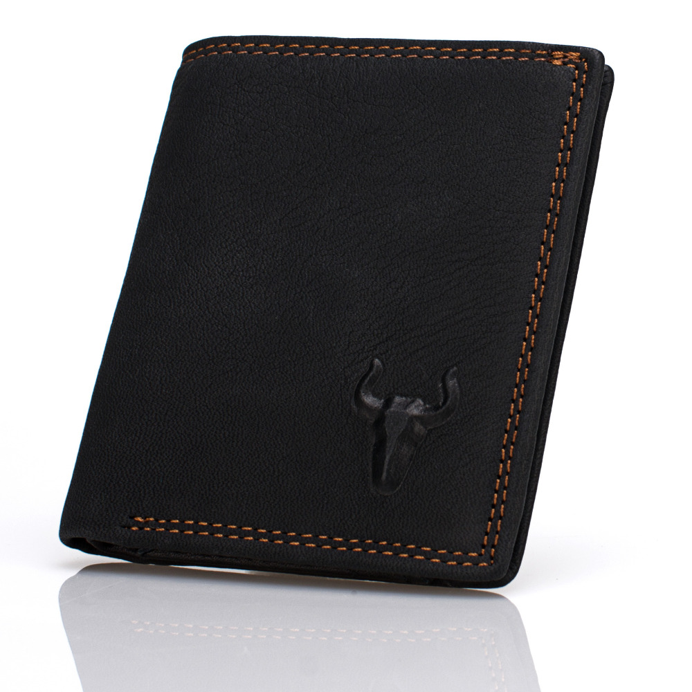 Genulne Leather Black Short Mini Wallets Mens Women Unisex Vintage Wallet Cowhide Mini Purse Zipper Pocket Card Photo Holder