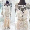 2015 elegante cuello alto de encaje sirena vestidos noche Formal Prom vestidos vestidos del partido por encargo