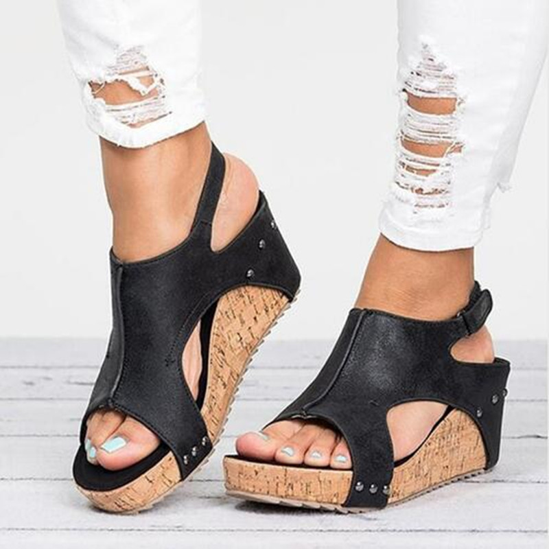 Hauts Chaussures Avec D'été Noir Talons Cales Forme Beige 2018 Peep qBATwfw