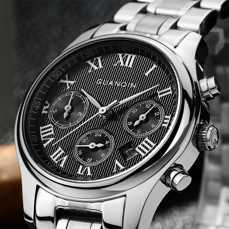 top designer watches promotion shop for promotional top designer guanqin quartz sport watches mens designer watches luxury top brand watch multi function full stainless steel men wristwatches