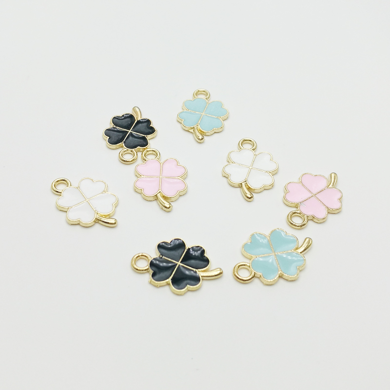 30 PC New Hot Oil Drop Charms Clovers Enamel Charms Alloy Pendant fit necklaces bracelets DIY Jewelry Accessories(China)