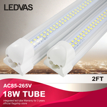 LED Integrated tube/lamp/light U-shaped 18W 2FT T8 led tube Fluorescent AC85-265V high quality 60cm Factory direct sale 25pcs