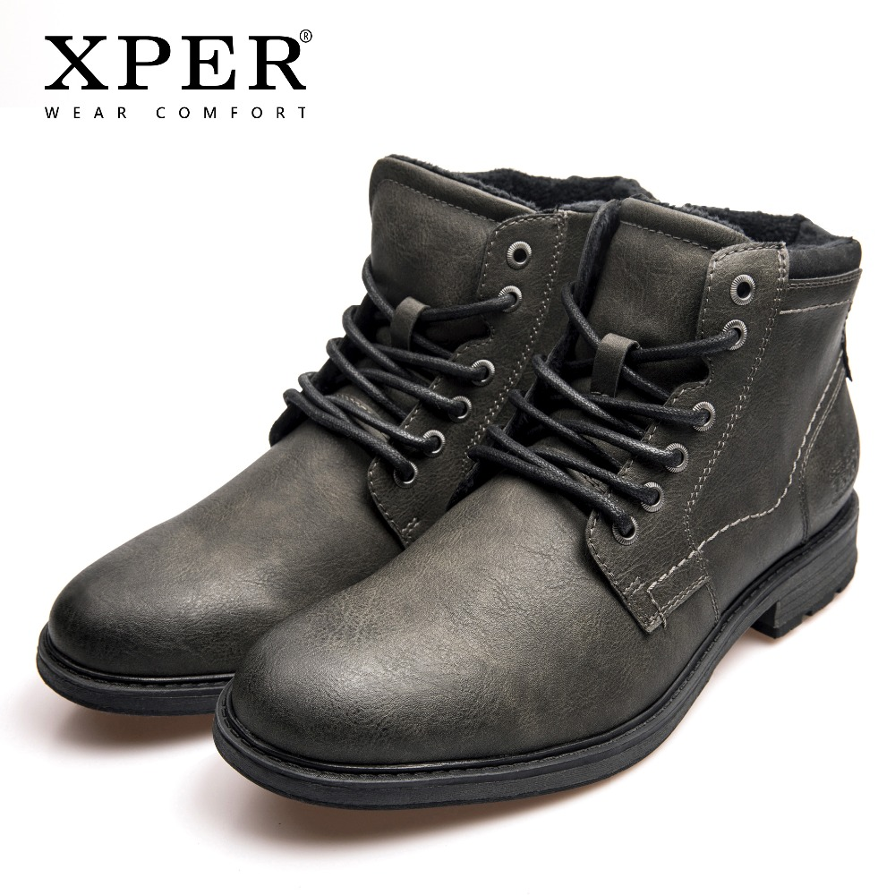 XPER Brand New Boots Men Big Size 40-48 Warm Winter Shoes Fashion Zipper Mens Ankle Boots Motorcycle Work Footwear #XHY12503A 2018 new designer style metal trend cool zipper hand painted priting mens ankle boots male warm breathable shoes footwear size46
