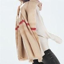 za 2014 Tartan Scarf Winter Desigual Plaid Pashmina Beige Women Cozy Checked Blanket Oversized Wrap Shawl Hot sale