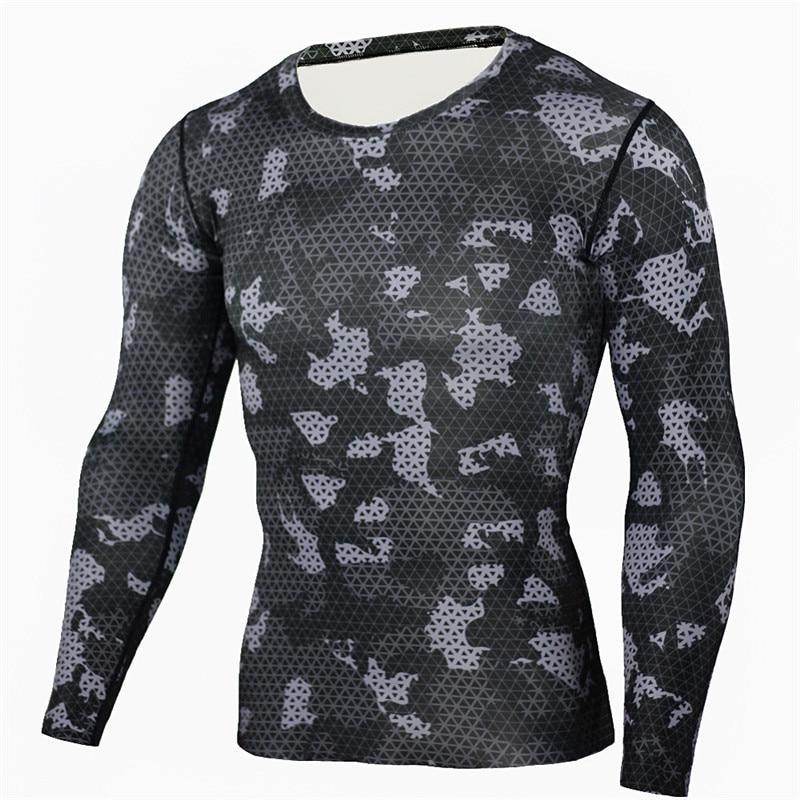 남성 캐주얼 긴 소매 위장 Tshirt 남성 육군 압축 셔츠 군사 카 모 망 셔츠 패션 통기성 위쪽 T- 셔츠