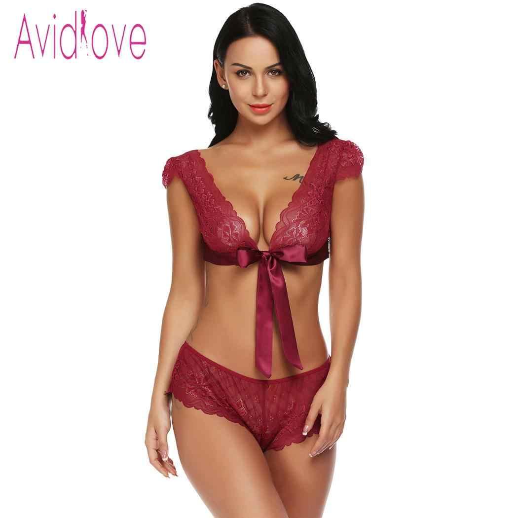3fd2ecd72c0 ... Avidlove Women Sexy Lingerie Set Sleepwear Nightwear Costumes Babydoll  Unlined Sexy Lingerie Lace Bra Bralette Set ...