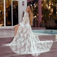 Sexy Transparent Shirt Women Plus Size Beach Kimono Cardigan Vetement Femme 2019 Lace Embroidery White See Through blouses недорого