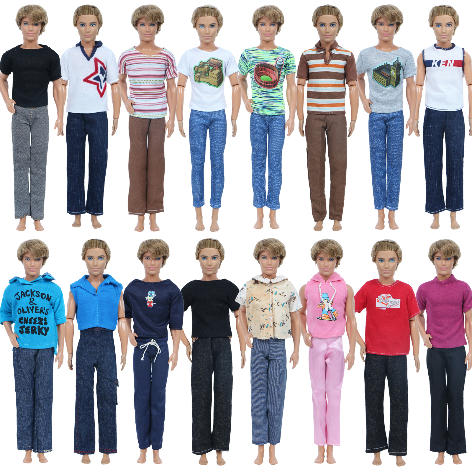 LOT 5 Sets Casual Wear Clothes Tops Shirt Pants Outfits for 12/'/' Boy Friend Doll