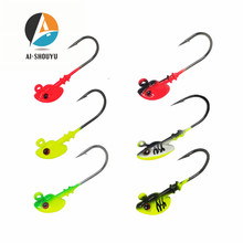 AI-SHOUYU 5pcs/lot Fishinghooks 7g/10g/14g/21g Hook Jig Head Multicolor Fishing Tackle Bait Hook Soft Bait Wom Lead Hook outkit 10pcs lot copper lead sinker weights 10g 7g 5g 3 5g 1 8g sharped bullet copper fishing accessories fishing tackle