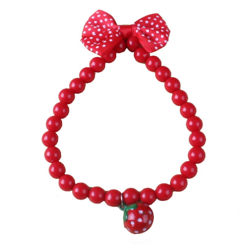 Pet Dog Cat Pearl Strawberry With Bell Bow Tie Collar Accessories