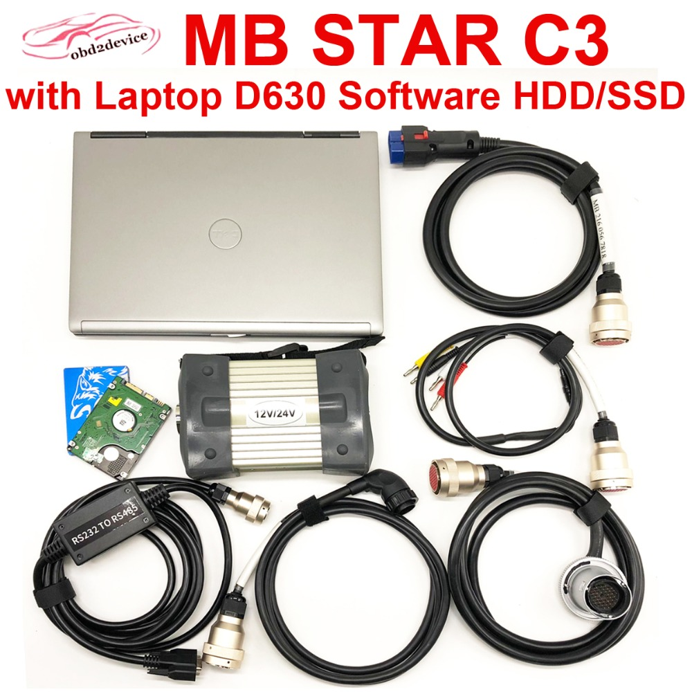 Car Diagnostic Tool MB STAR C3 with Laptop D630 and Software HDD/SSD Full Set with RS232 to RS485 Cable Obd interface for TrucK