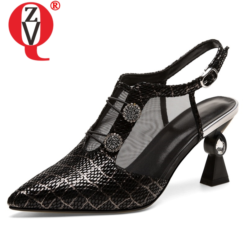 ZVQ shoes woman 2019 summer newest fashion sexy crystal sheepskin woman sandals outside high strange style