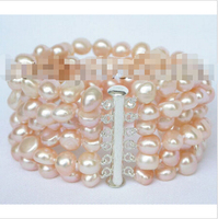 Free shipping >>>>>>8 6row 9mm baroque pink pearls bracelet bangle magnet clasp j8831