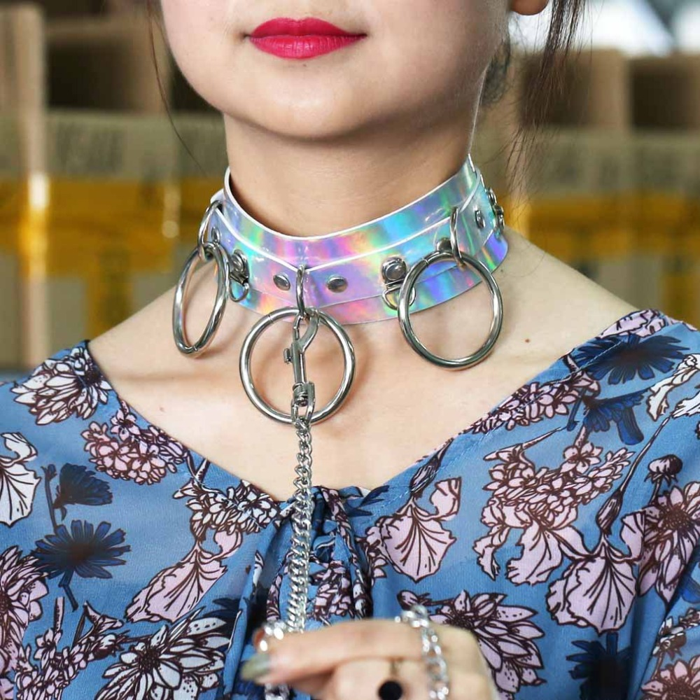 iridescent choker rave choker rave outfit chocker necklace velvet choker Holographic choker rave accessory