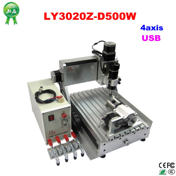 Free shipping Mini 4axis CNC Router milling machine CNC 2030 500w  with usb port eur free tax cnc 6040z frame of engraving and milling machine for diy cnc router