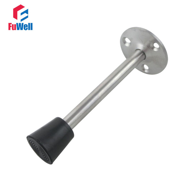 2pcs Wall Mounted Door Stops 150mm Length Stainless Steel Stopper Catches Holder Heavy Duty Rubber