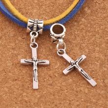 Crucifix Cross Religious Charm Beads 13x34.9mm 100PCS Antique Silver Dangle Fit European Bracelets Jewelry DIY B483 frog charm beads 30 8x15 6mm 100pcs antique silver dangle fit european bracelets jewelry diy b167