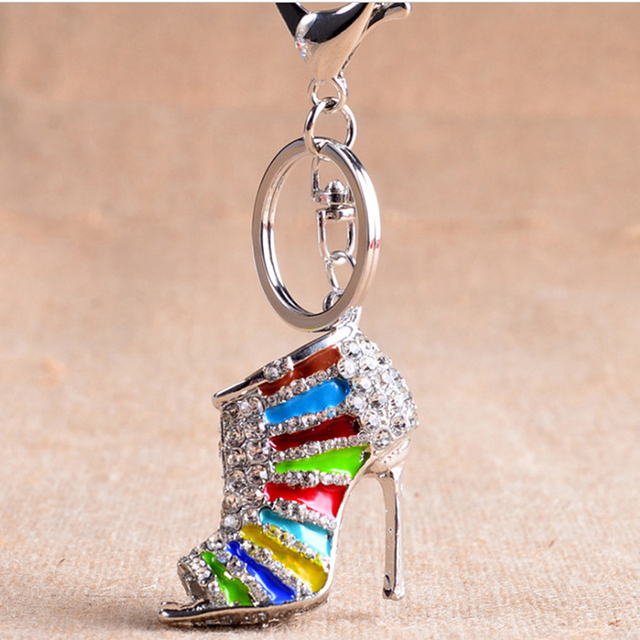 Novelty High Heel Shoes Keychains Rhinestone Shoe Keyring Charm Women  Handbag Key Holder Girl Bag Pendant 2c4e2bbf62