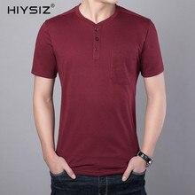 HIYSIZ T-Shirt Men 2019 Cotton New Fashion Causal Streetwear Solid With Pocket Henry Collar Tshirts Tops Brand Summer ST213
