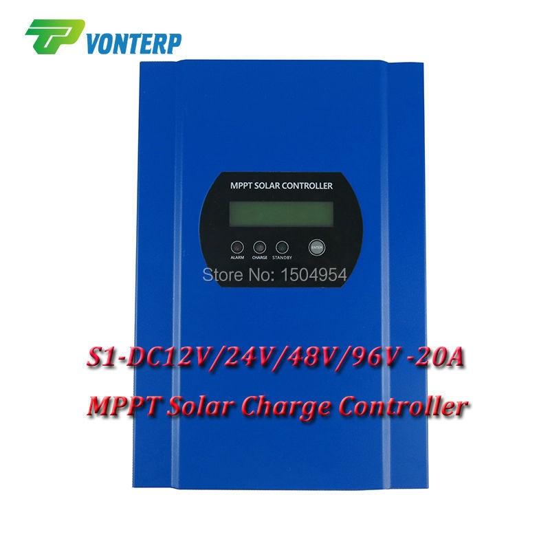 S1Series 96V 20A MPPT solar charge controller, 12V 24V 48V 96V auto work, solar charger LiFePO4 Gel Vented ,Sealed,Gel,NiCd аккумуляторная батарея bik lifepo4 38120s lifepo4 48v 10 40