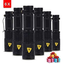 6 Unids/lote Mini LED Antorcha 7 W 2000lm LED Linterna Ajustable del Foco del Flash del Zumbido Lámpara de Luz El Envío Libre Al Por Mayor