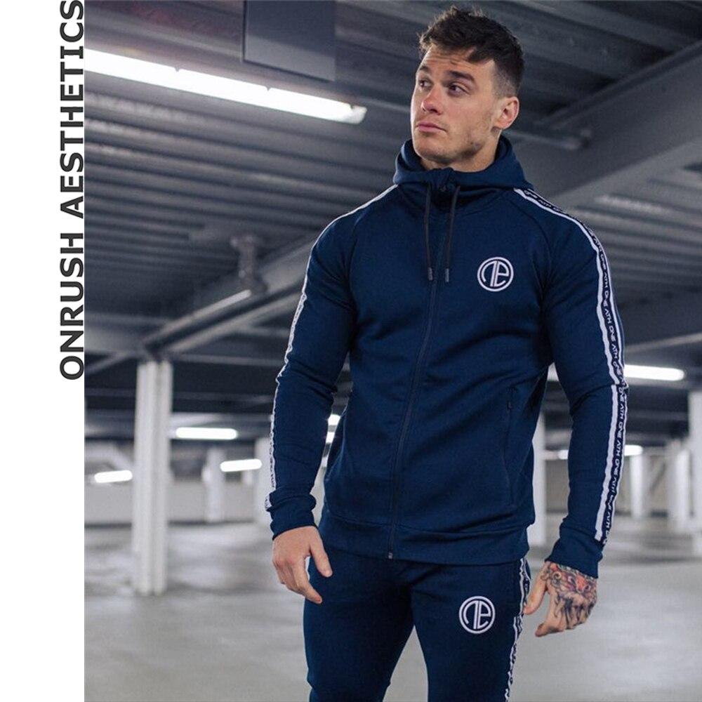 2018 New Tracksuits Suits Men's Fitness Hooded Zipper Sweatshirts+Bodybuilding Jogger Pants Elastic Slim Fit Sweatpants For Male