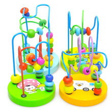 1Pcs Early Learning Toy Children Kids Baby Colorful Wooden Mini Around Beads Educational Mathematics Toy Random Color K5BO