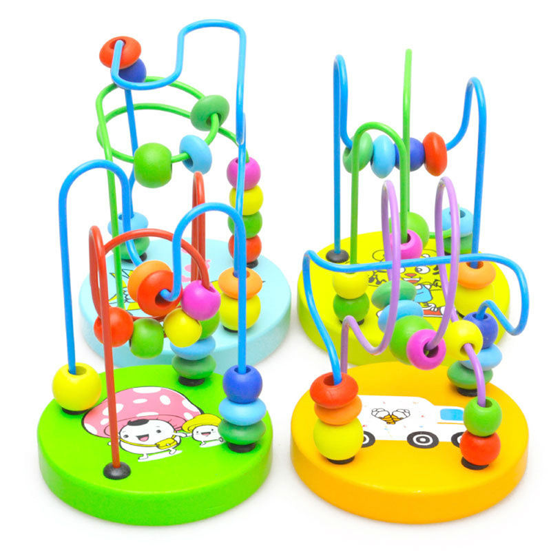 Early Learning Toy Children Kids Baby Colorful Wooden Mini Around Beads Educational Mathematics Toy Random Color